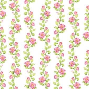 Padrão de aquarela de primavera com flores cor de rosa e galhos verdes