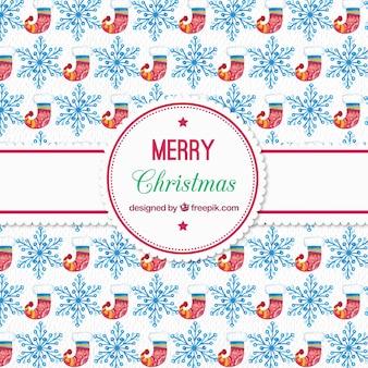 Padrão de aquarela do natal com meias