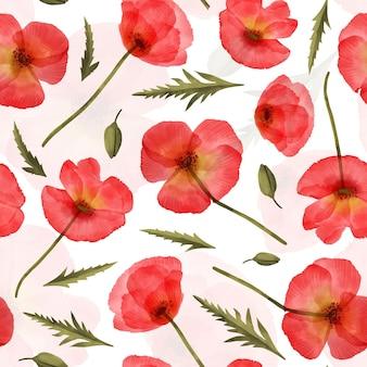 Padrão de aquarela pintada com flores vermelhas