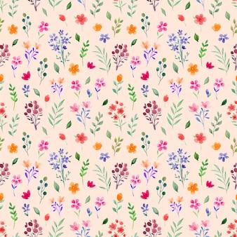 Padrão de aquarela sem costura com flores de primavera e folhas