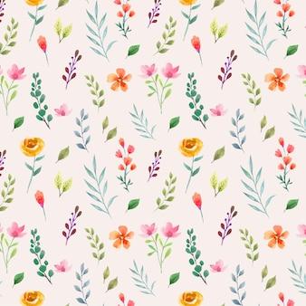 Padrão de aquarela sem costura floral e folhas
