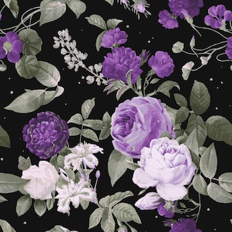 Padrão de aquarela vintage com rosas roxas