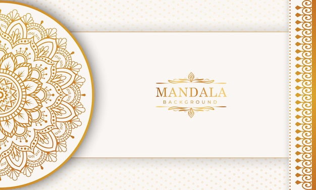 Padrão de arabescos de ouro de luxo no fundo da mandala premium vector