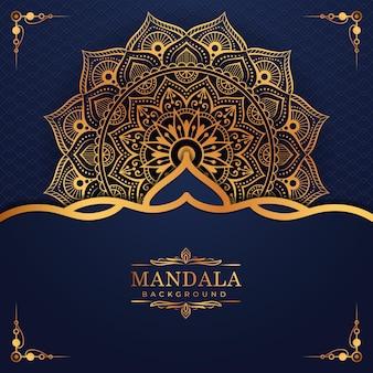Padrão de arabescos de ouro de luxo no fundo de mandala estilo oriental islâmico árabe premium vector