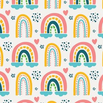 Padrão de arco-íris com formas de coração