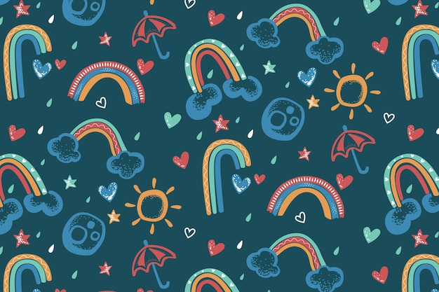 Padrão de arco-íris pintado à mão
