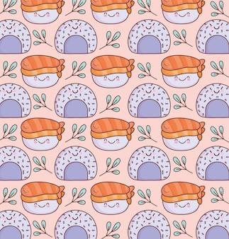 Padrão de arroz de sushi fofo Vetor Premium