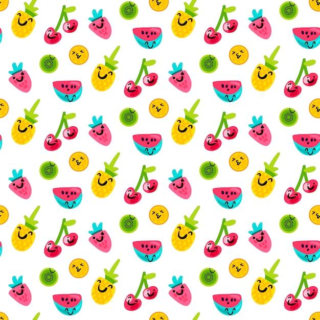 Padrão de arte de frutos de verão saboroso e doce
