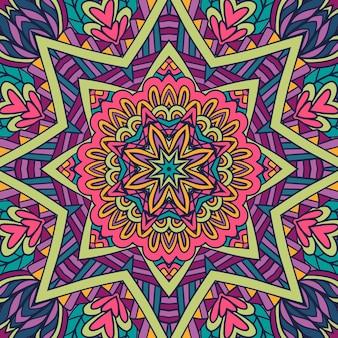 Padrão de arte festiva de estrela de mandala colorida medalhão geométrico doodle ornamentos de estilo boho