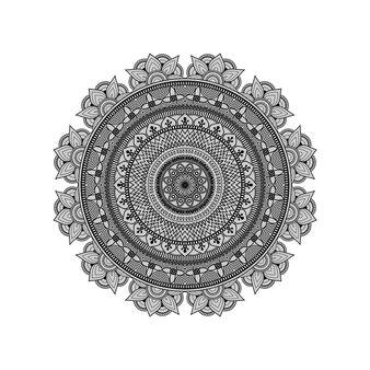 Padrão de arte floral mandala de contorno