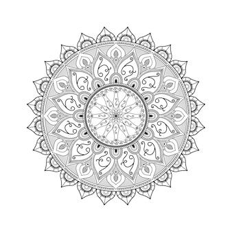 Padrão de arte mandala floral árabe de contorno