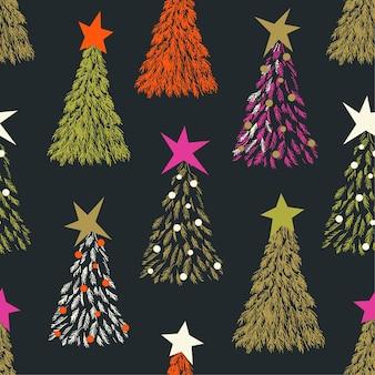 Padrão de árvore de natal moderno com estrelas em magenta vermelho preto e dourado