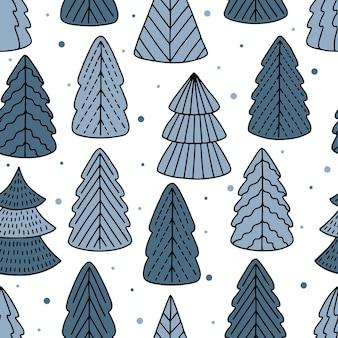 Padrão de árvore de natal sem costura para cartões, papéis de embrulho. padrão de inverno sem emenda.