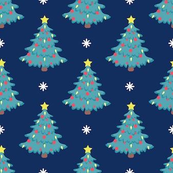Padrão de árvore de natal sem emenda de vetor com balões vermelhos e estrela amarela brilhante