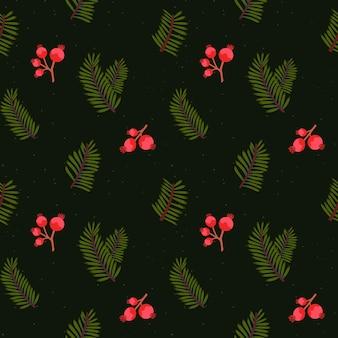 Padrão de árvore de natal, textura perfeita. ramos de coníferas e bagas vermelhas em fundo escuro. papel de embrulho.