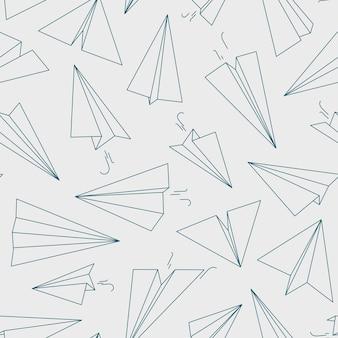 Padrão de avião. o fundo do conceito linear do livro branco para os símbolos da aviação livre de viajantes esboçam uma imagem perfeita. ilustração de avião sem costura padrão, brinquedos de transporte de papel