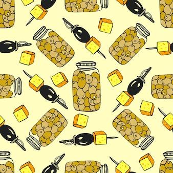 Padrão de azeitona sem costura com jar oliveira e canape com queijo. ilustração do doodle de vetores