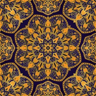 Padrão de azul e amarelo com mandala.