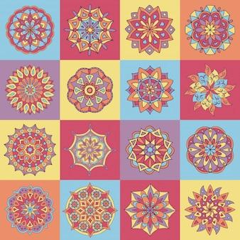 Padrão de azulejo abstrato com mandalas desenhadas à mão