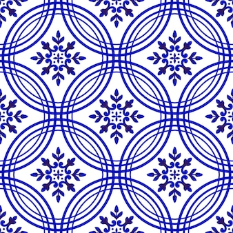 Padrão de azulejo azul e branco