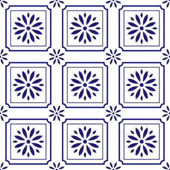 Padrão de azulejo bonito com flor