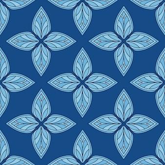 Padrão de azulejo escandinavo. telha fundo moderno. repetindo o ornamento nas cores azuis.