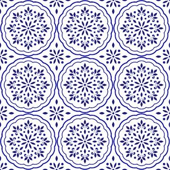 Padrão de azulejo floral decorativo