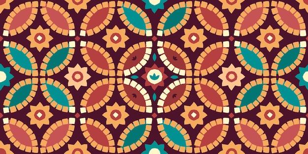 Padrão de azulejo geométrico árabe sem costura colorido sobre um fundo claro.
