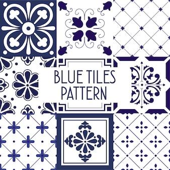 Padrão de azulejos azuis