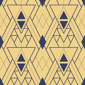 Padrão de azulejos geométricos de ouro sem costura arte deco abstrata