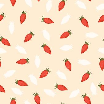Padrão de baga sem costura com morangos em fundo bege em estilo cartoon plana e tendência