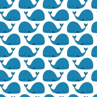 Padrão de baleias bonito azul sobre fundo branco