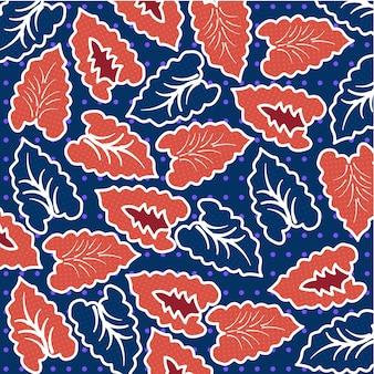 Padrão de batik de folha tropical