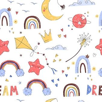 Padrão de bebê fofo desenhado à mão com pipa, arco-íris para o berçário em um fundo branco