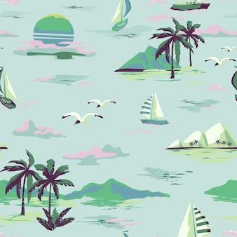 Padrão de bela ilha sem costura vintage em fundo branco. paisagem com palmeiras, iate, praia e oceano estilo desenhado à mão
