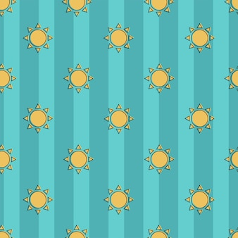 Padrão de belo vetor sem emenda de sol sobre um fundo azul listrado. padrão uniforme. faixa marinha