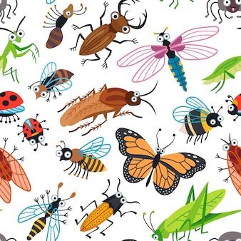 Padrão de besouros bonitos sem costura para crianças. design infantil fofo