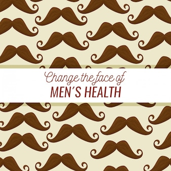 Padrão de bigode masculino com texto