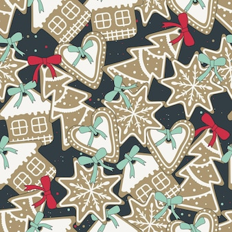 Padrão de biscoitos de gengibre de natal com esmalte branco em forma de uma casa, uma espinha de peixe, flocos de neve e um coração com alface. padrão de férias brilhantes. doces de ano novo.