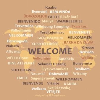 Padrão de boas-vindas em diferentes idiomas