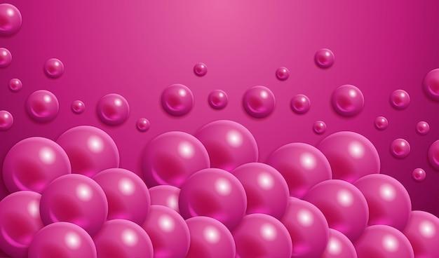 Padrão de bolha de círculo de elementos roxos de esfera realista com linda bola rosa 3d