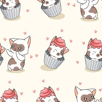 Padrão de bolo de xícara de gato sem costura