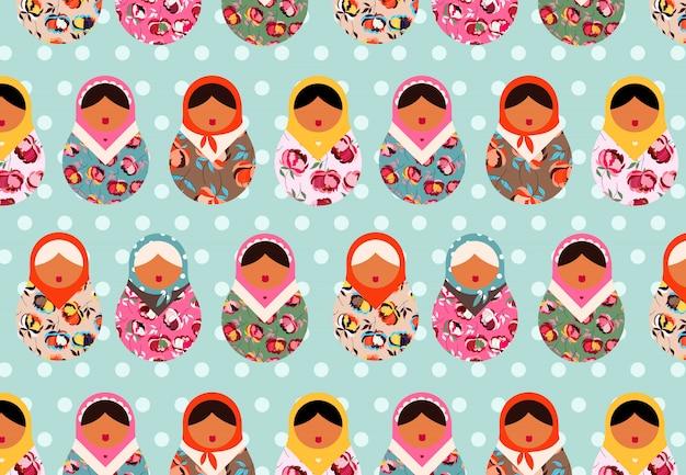Padrão de boneca russa matryoshka. lindas bonecas em um fundo azul pastel. papel de parede, papelaria e design têxtil. folclore e tradições russas.
