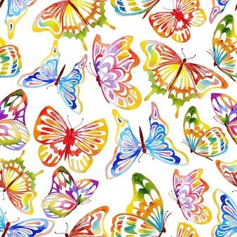 Padrão de borboleta de aquarela