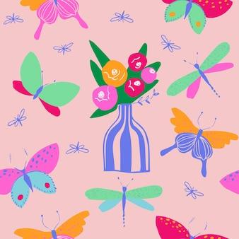 Padrão de borboleta e libélula em cores neon brilhantes