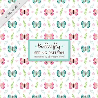 Padrão de borboleta plana com decoração floral