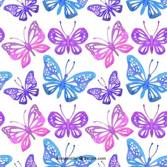 Padrão de borboletas decorativas aquarela