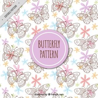 Padrão de borboletas desenhadas à mão