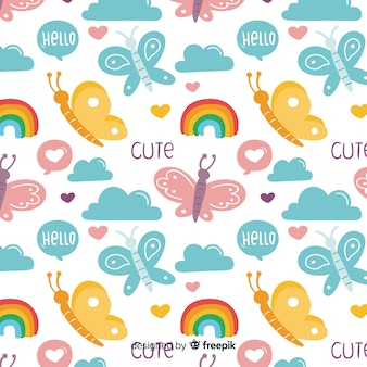 Padrão de borboletas e palavras engraçadas de doodle