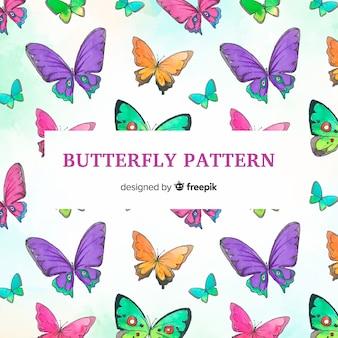 Padrão de borboletas em aquarela